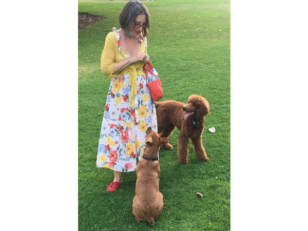 Felicia and Merlin Walking in Balboa Park